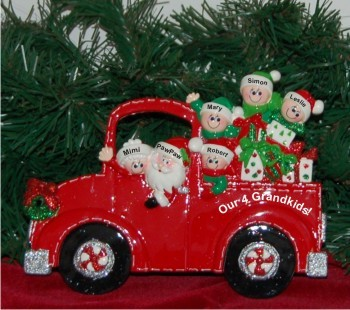 Santa's Fire Engine Tabletop: Our 4 Grandkids with 2 Grandparents Personalized Tabletop Christmas Decoration