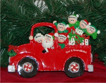 Santa's Fire Engine Tabletop: Our 5 Grandkids with 2 Grandparents Personalized Tabletop Christmas Decoration