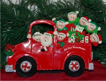 Santa's Fire Engine Tabletop: Our 6 Grandkids with 2 Grandparents Personalized Tabletop Christmas Decoration