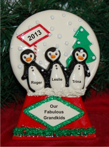 Our 3 Grandkids Penguin Tabletop Personalized Tabletop Christmas Decoration