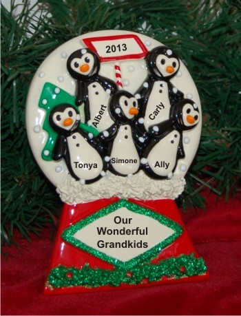 Our 5 Grandkids Penguin Tabletop Personalized Tabletop Christmas Decoration