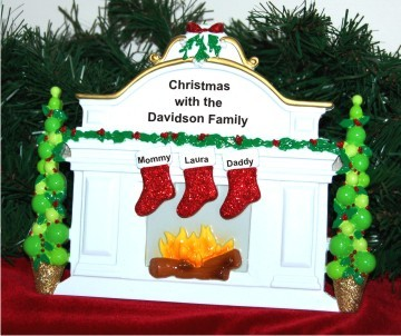 White Mantel Family of 3 Personalized Tabletop Christmas Decoration