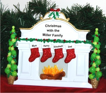 Christmas Mantel: 4 Grandkids Love to Grandparents Personalized Tabletop Christmas Decoration