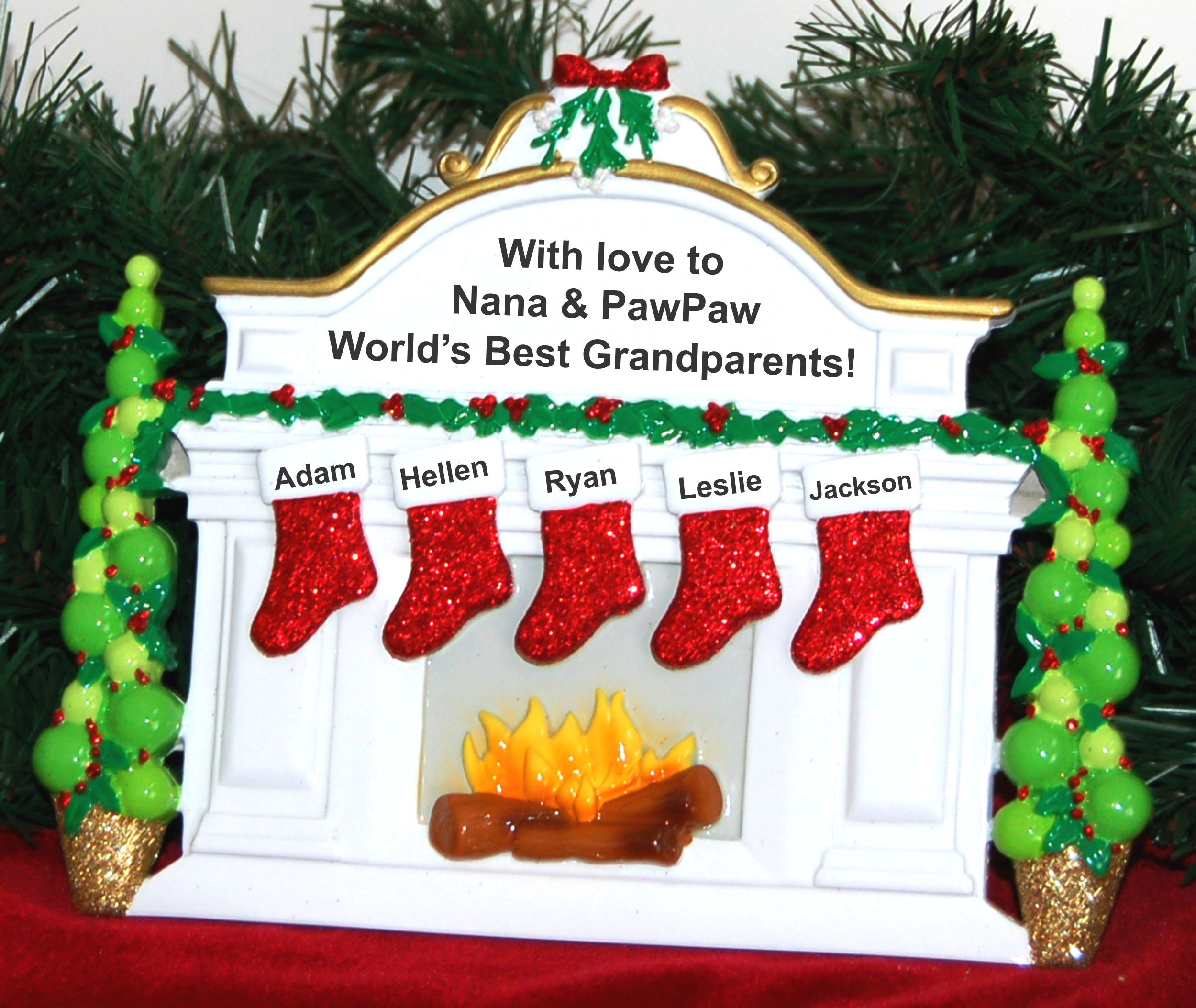 Personalized Grandparents Tabletop Christmas Decoration 5 Grandkids by Russell Rhodes
