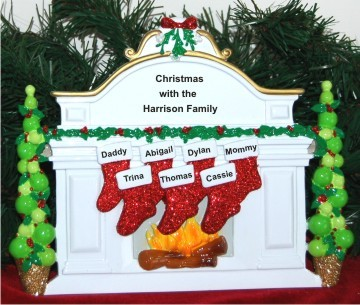 White Mantel Family of 7 Personalized Tabletop Christmas Decoration