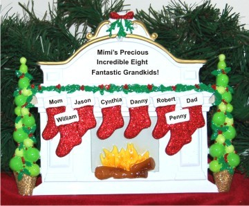 Christmas Mantel: Our 8 Grandkids Personalized Tabletop Christmas Decoration