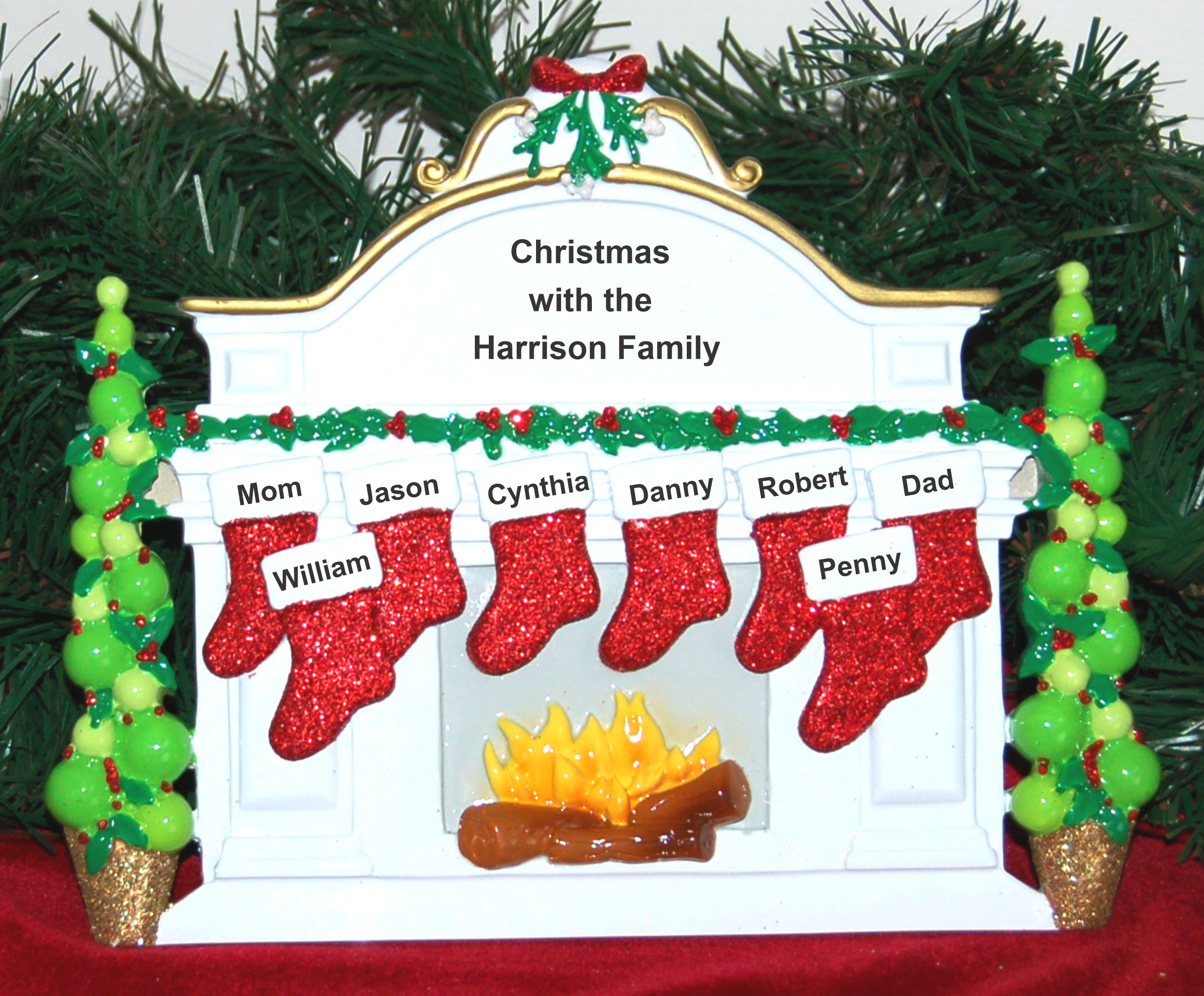 Personalized Family Tabletop Christmas Decoration for 8 by Russell Rhodes