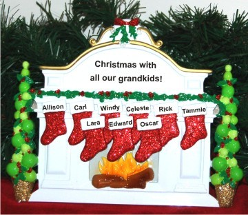 Christmas Mantel: Our 9 Grandkids Personalized Tabletop Christmas Decoration