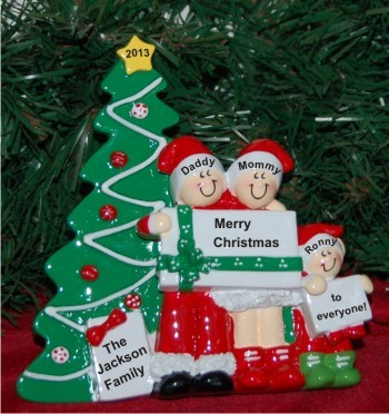 Christmas Morning Family of 3 Personalized Tabletop Christmas Decoration