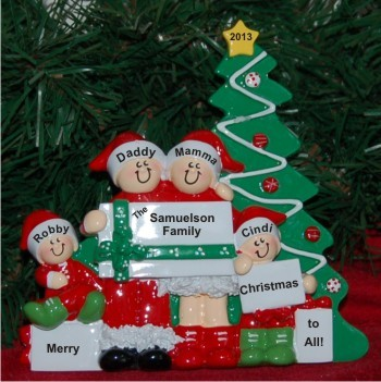 Christmas Morning Family of 4 Personalized Tabletop Christmas Decoration