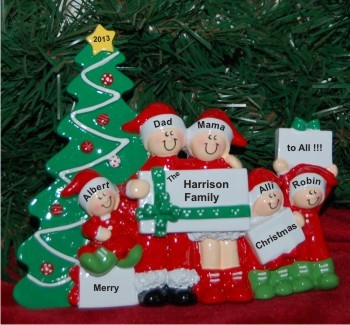 Christmas Morning Family of 5 Personalized Tabletop Christmas Decoration