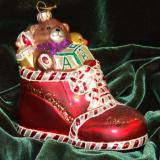 Baby Delights Red Bootie Glass Christmas Ornament Personalized by Russell Rhodes