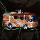 RV Motor Home Glass Christmas Ornament Personalized by Russell Rhodes