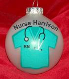 Scrubs for New Nurse Christmas Ornament Personalized by Russell Rhodes