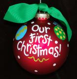 Hand Painted Our First Christmas Glass Christmas Ornament Personalized by Russell Rhodes