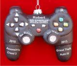 Black Video Game Controller PlayStation Personalized Christmas Ornament Personalized by Russell Rhodes