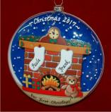 Harmony at Home Stockings for 2 Glass Christmas Ornament Personalized by Russell Rhodes