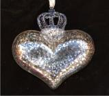 Crowned Heart Silver Reflections Glass Christmas Ornament