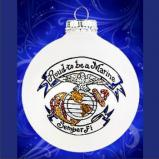 US Marine Glass Christmas Ornament Personalized by Russell Rhodes