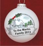From Our Family to Yours Christmas Cottage Christmas Ornament Personalized by Russell Rhodes