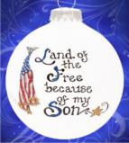 Free & Brave - My Son Glass Christmas Ornament Personalized by Russell Rhodes
