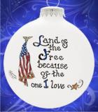 Land of Free Home of Brave Glass Christmas Ornament Personalized by Russell Rhodes