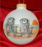 Beach Vacation Chairs in the Sand Glass Personalized Christmas Ornament Personalized by Russell Rhodes