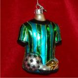 Soccer Gear Glass Christmas Ornament Personalized by Russell Rhodes