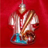 Baseball Gear Glass Christmas Ornament Personalized by Russell Rhodes