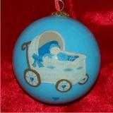 Baby Buggy for Boys Glass Ball Christmas Ornament Personalized by Russell Rhodes