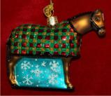 Snowflake Horse Glass Christmas Ornament Personalized by Russell Rhodes