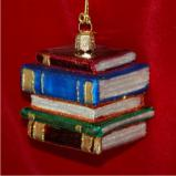 Book Worm Stack of Books Glass Christmas Ornament Personalized by Russell Rhodes