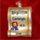 Graduation Diploma Glass Christmas Ornament Personalized by Russell Rhodes