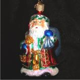 Old-Time Santa Glass Christmas Ornament Personalized by Russell Rhodes