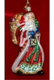 Radiant Santa Glass Christmas Ornament