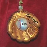 Baseball Glove Ornament Glass Christmas Ornament Personalized by Russell Rhodes