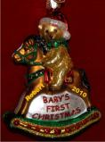 Rocking Horse Teddy Glass Christmas Ornament Personalized by Russell Rhodes