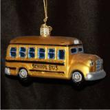School Bus Glass Christmas Ornament Personalized by Russell Rhodes