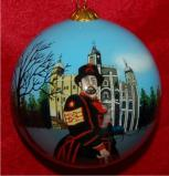 The Tower of London with Beefeater Christmas Ornament Personalized by Russell Rhodes