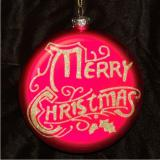 Merry Christmas Glass Christmas Ornament Personalized by Russell Rhodes