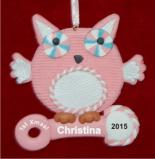 Pink Owl for Baby Girl Christmas Ornament Personalized by Russell Rhodes