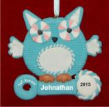 Blue Owl for Baby Boy Christmas Ornament Personalized by Russell Rhodes