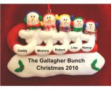 Snowful Sledding Fun - 5 Family Christmas Ornament Personalized by Russell Rhodes