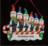 Sledding Penguins Family of 6 Christmas Ornament Personalized by Russell Rhodes