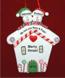 Snowman House 2 Grandkids Christmas Ornament Personalized by Russell Rhodes
