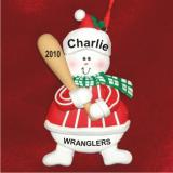 Snowman Baseball Christmas Ornament Personalized by Russell Rhodes