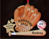 Our Baseball Champ Christmas Ornament Personalized by Russell Rhodes