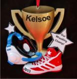 Wrestling Champ Trophy Christmas Ornament Personalized by Russell Rhodes
