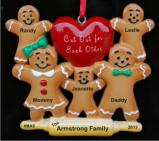 Gingerbread Family Cut Out for Each Other Family of 5 Christmas Ornament Personalized by Russell Rhodes