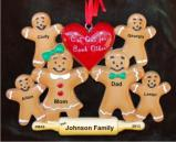 Gingerbread Family Cut Out for Each Other Family of 6 Christmas Ornament Personalized by Russell Rhodes